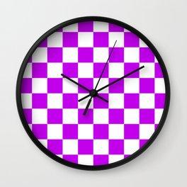 Cheerful Purple Checkerboard Pattern Wall Clock