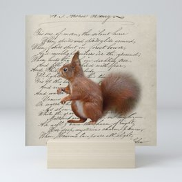 autumn fall seasonal shabby french scripts woodland animal squirrel Mini Art Print