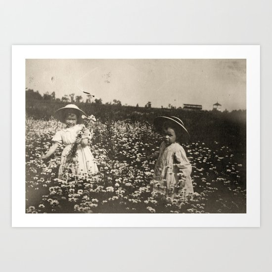 Vintage Photo of Sisters and Flowers Art Print