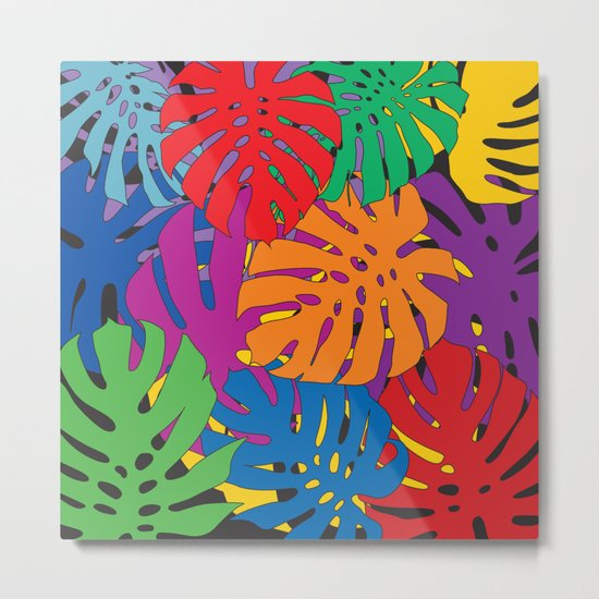 Monstera leaves in Pop Art Metal Print
