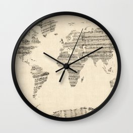 Old Sheet Music World Map Wall Clock