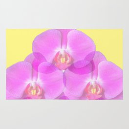 TROPICAL PINK ORCHIDS & YELLOW FLORAL ABSTRACT Rug