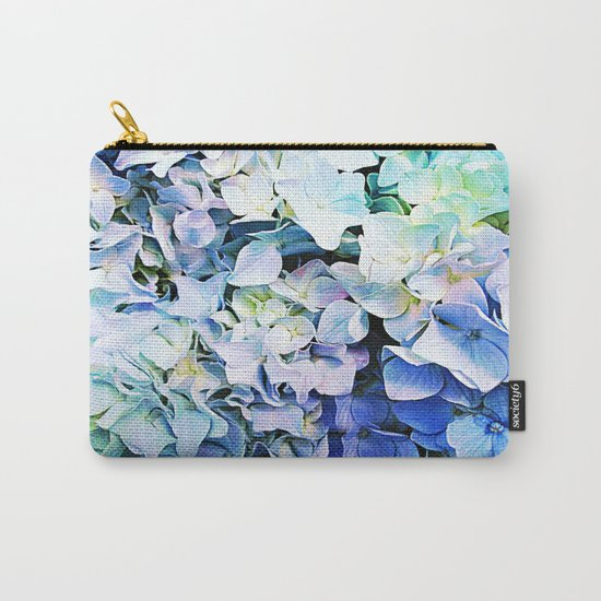 Soft Tri-Color Pastel Hydrangea Carry-All Pouch