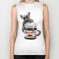 nutella Biker Tanks featuring Sweet aim // galago and nutella by Anna Shell