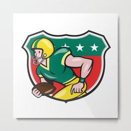 American Football Wide Receiver Running Ball Shield Metal Print