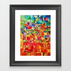 PAINTING THE SOUL - Vibrant Collage Mixed Abstract Acrylic Watercolor Painting Rainbow Colorful Art Framed Art Print