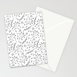 Modern black gray hand painted watercolor floral leaves Stationery Cards