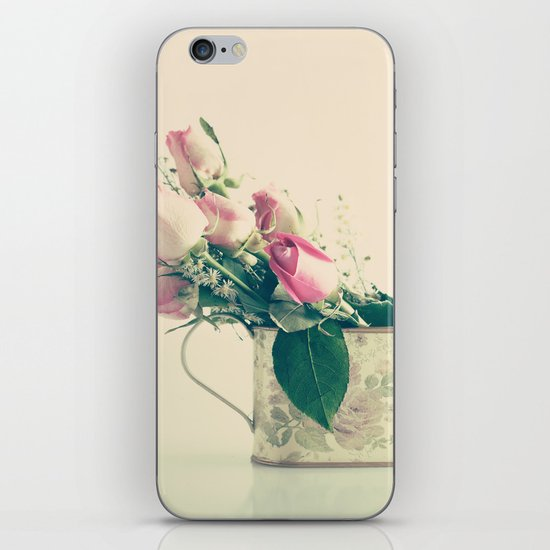 Shabby Chic Roses - Retro Vintage Pink Floral Photography on beige background iPhone & iPod Skin