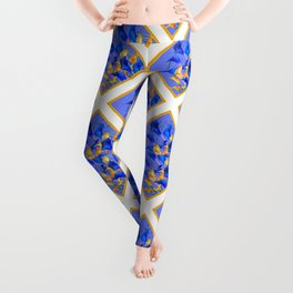 ABSTRACTED BLUE & GOLD PATTERN  CALLA LILIES  DESIGN Leggings