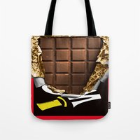 willy wonka Tote Bags featuring Wonka Chocolate Bar by ThreeBoys