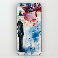 magritte iPhone & iPod Skins featuring Magritte, Apple & Mermaid by Claudia Feher