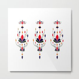 Flying Bird with Leaves Gold Red Blue and Green Metal Print