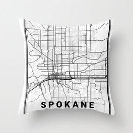 Spokane Light City Map Throw Pillow