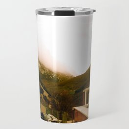Stand here with the mountain in background Travel Mug