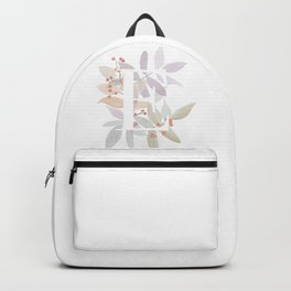 Rustic Watercolor Monogram - Initial E - Farmhouse Typography Backpack