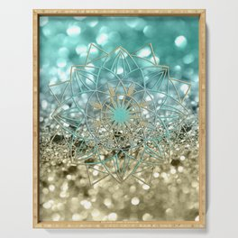 Star Mandala on Lemon Twist Beach Glitter #4 #shiny #decor #art #society6 Serving Tray