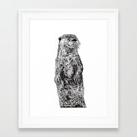 otter Framed Art Prints featuring Otter by Meredith Mackworth-Praed