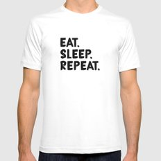 Eat. Sleep. Repeat MEDIUM White Mens Fitted Tee