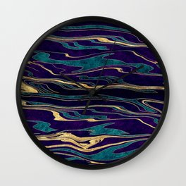 Stylish gold abstract marbleized paint image Wall Clock