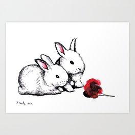 Two Little White Rabbits Art Print