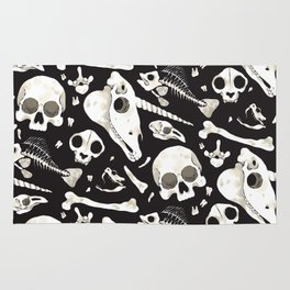 black Skulls and Bones - Wunderkammer Rug