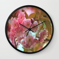 cherry blossoms Wall Clocks featuring Cherry Blossoms by Judy Palkimas