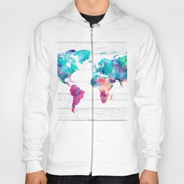World Map Watercolor Paint on White Wood Hoody