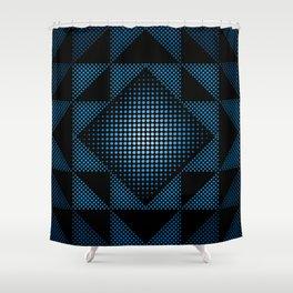Halftone Blue Shower Curtain