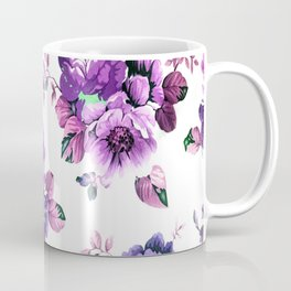 Pretty Purple Textured Flowers Coffee Mug