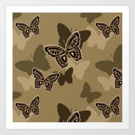 Iron Butterfly Camouflage in Brown Art Print