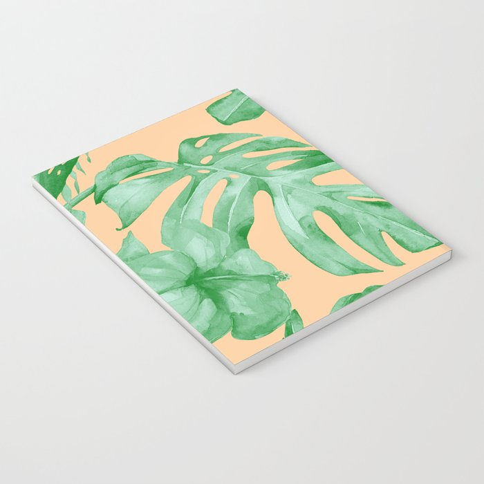Tropical Monstera Hibiscus Botanical Pattern Green Coral Peach Notebook