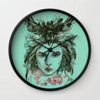 viria Wall Clocks featuring Crow queen by viria