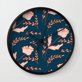 Modern orange pastel blue pink hand painted floral Wall Clock