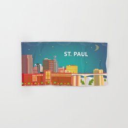 St. Paul, Minnesota - Skyline Illustration by Loose Petals Hand & Bath Towel