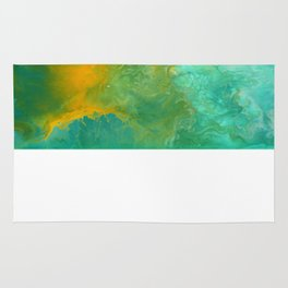 Teal Fluid Abstract Painting Rug