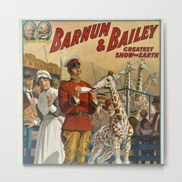 19th Century Barnum & Bailey Circus The only baby giraffe in America Vintage Poster Metal Print