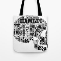 hamlet Tote Bags featuring Shakespeare's Hamlet Skull by MollyW