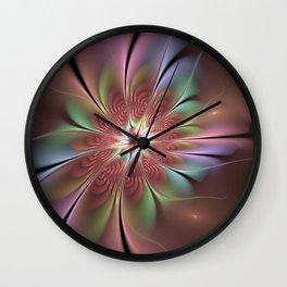 Abstract Fantasy Flower, Fractal Art Wall Clock