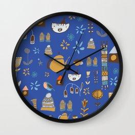 hygge cat and bird blue Wall Clock