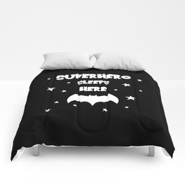 Superhero Sleeps Here (Black) Comforters