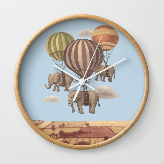 Flight of the Elephants - colour option Wall Clock