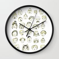 faces Wall Clocks featuring Faces by Wood + Ink