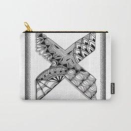Zentangle X Monogram Alphabet Initial Carry-All Pouch