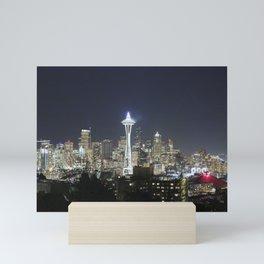 Seattle Skyline Holiday Mini Art Print