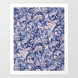 Vinage Lace Watercolor Blue Blush Art Print