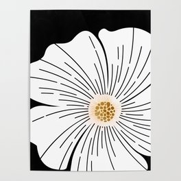 Black and White Blossom Poster