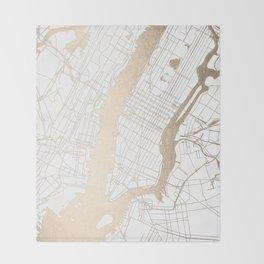 New York City White on Gold Throw Blanket