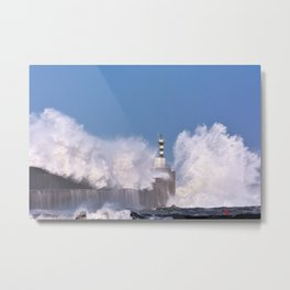 Stormy wave over lighthouse Metal Print