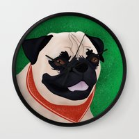 pug Wall Clocks featuring Pug by Nir P