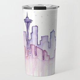 Seattle Skyline Watercolor Travel Mug